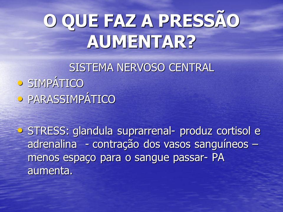 O QUE FAZ A PRESSÃO AUMENTAR? SISTEMA NERVOSO CENTRAL SIMPÁTICO SIMPÁTICO PARASSIMPÁTICO PARASSIMPÁTICO STRESS: glandula suprarrenal- produz cortisol