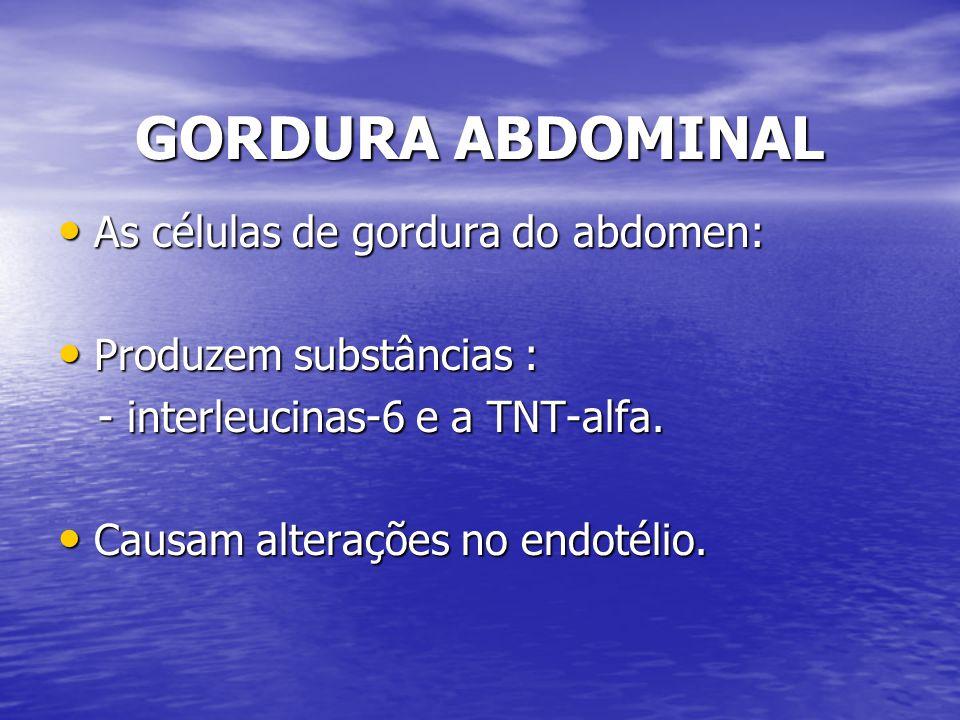 GORDURA ABDOMINAL As células de gordura do abdomen: As células de gordura do abdomen: Produzem substâncias : Produzem substâncias : - interleucinas-6