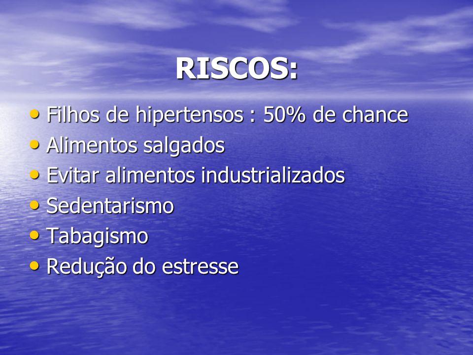 RISCOS: Filhos de hipertensos : 50% de chance Filhos de hipertensos : 50% de chance Alimentos salgados Alimentos salgados Evitar alimentos industriali