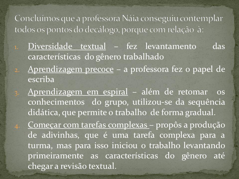 1.Diversidade textual – fez levantamento das características do gênero trabalhado 2.