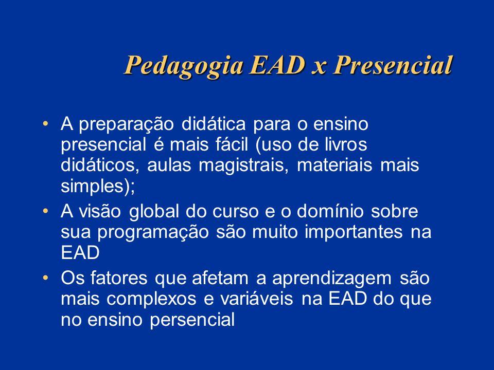 Pedagogia EAD x Presencial A preparação didática para o ensino presencial é mais fácil (uso de livros didáticos, aulas magistrais, materiais mais simp