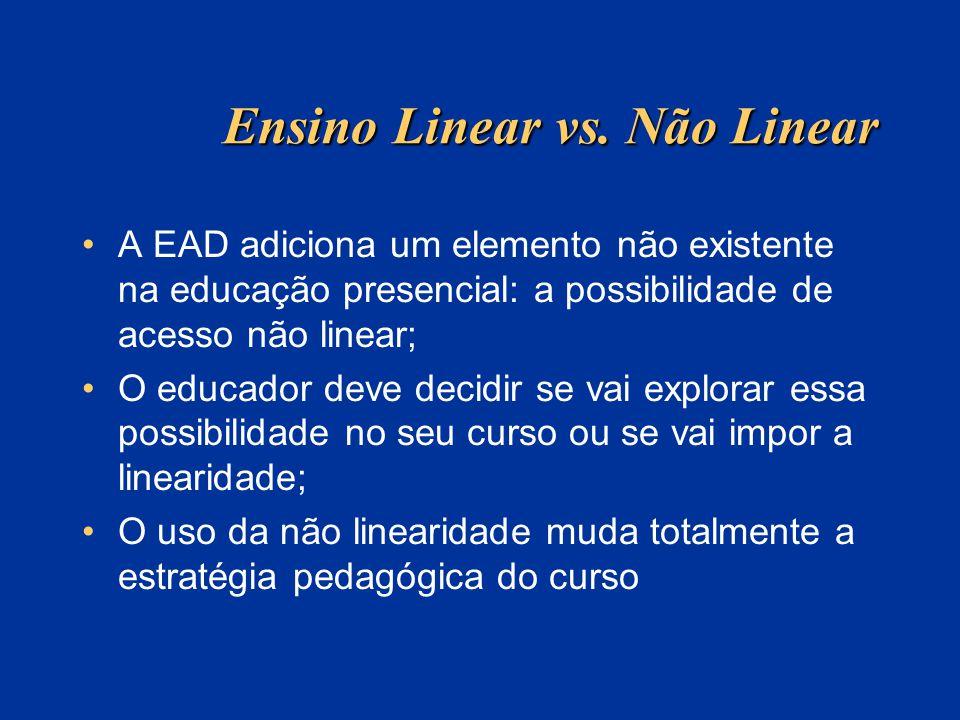 Ensino Linear vs. Não Linear A EAD adiciona um elemento não existente na educação presencial: a possibilidade de acesso não linear; O educador deve de