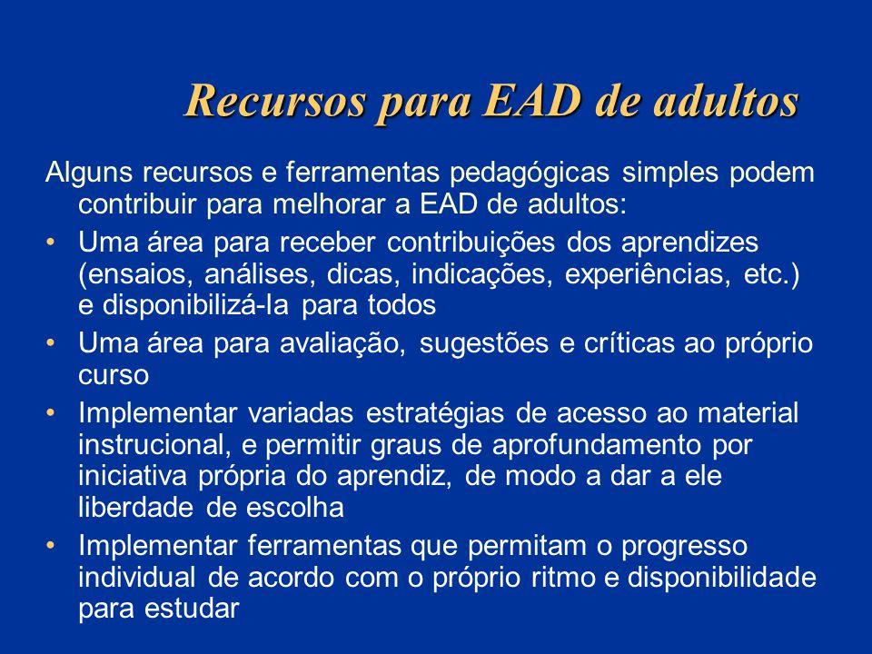 Recursos para EAD de adultos Alguns recursos e ferramentas pedagógicas simples podem contribuir para melhorar a EAD de adultos: Uma área para receber