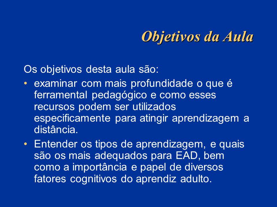 Tópicos O que é ferramental pedagógico Características da pedagogia da EAD EAD versus educação presencial Estruturação do curso e pedagogia Mecanismos básicos e tipos de aprendizagem Objetivos psicopedagógicos do ensino/aprendizagem Características da educação de adultos