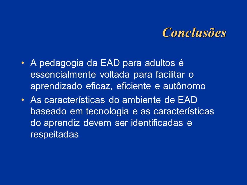 Conclusões A pedagogia da EAD para adultos é essencialmente voltada para facilitar o aprendizado eficaz, eficiente e autônomo As características do am