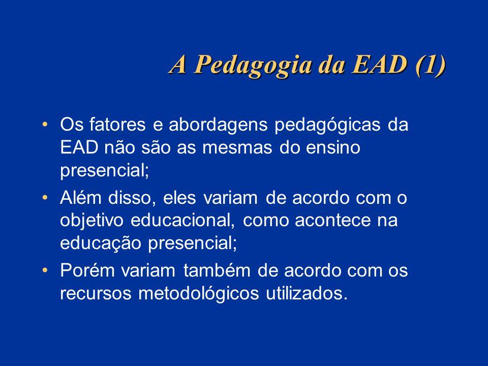 A Pedagogia da EAD (1) Os fatores e abordagens pedagógicas da EAD não são as mesmas do ensino presencial; Além disso, eles variam de acordo com o obje