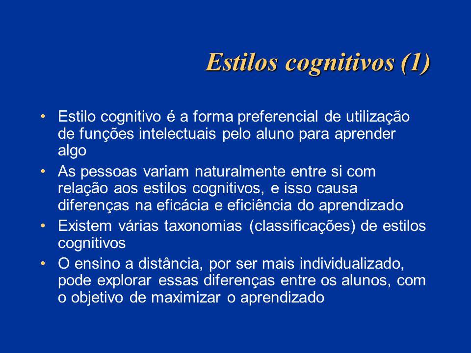 Estilos cognitivos (1) Estilo cognitivo é a forma preferencial de utilização de funções intelectuais pelo aluno para aprender algo As pessoas variam n