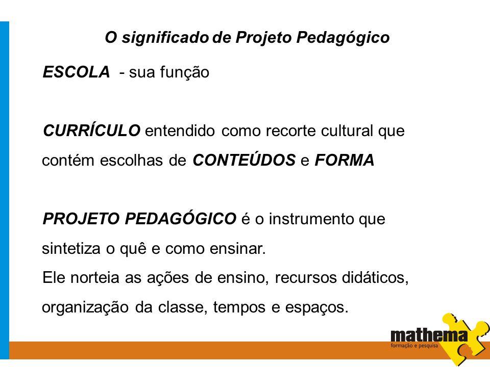 O significado de Projeto Pedagógico ESCOLA - sua função CURRÍCULO entendido como recorte cultural que contém escolhas de CONTEÚDOS e FORMA PROJETO PED