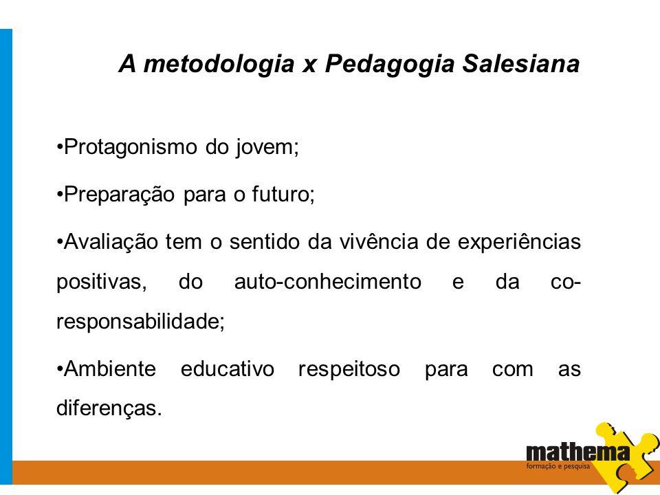 A metodologia x Pedagogia Salesiana Protagonismo do jovem; Preparação para o futuro; Avaliação tem o sentido da vivência de experiências positivas, do