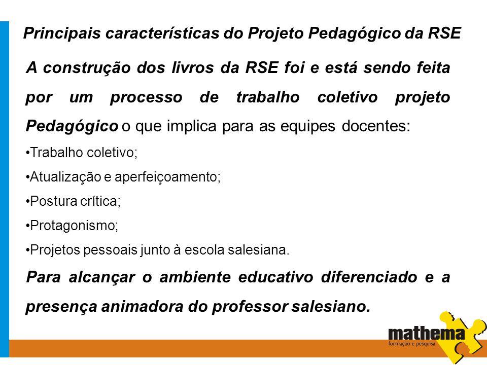 Principais características do Projeto Pedagógico da RSE A construção dos livros da RSE foi e está sendo feita por um processo de trabalho coletivo pro