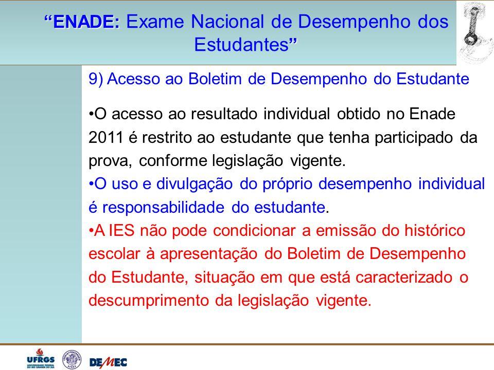 """""""ENADE: """"ENADE: Exame Nacional de Desempenho dos """" Estudantes """" 9) Acesso ao Boletim de Desempenho do Estudante O acesso ao resultado individual obtid"""