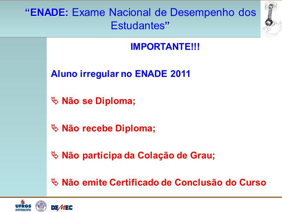 """""""ENADE: """"ENADE: Exame Nacional de Desempenho dos """" Estudantes """" IMPORTANTE!!! Aluno irregular no ENADE 2011  Não se Diploma;  Não recebe Diploma; """