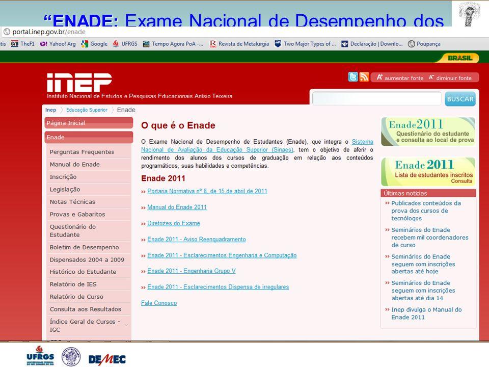 ENADE: ENADE: Exame Nacional de Desempenho dos Estudantes 7) Das provas – Responsabilidade do ALUNO  Ler: Manual ENADE 2011, diretrizes Eng.