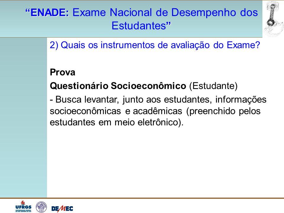 """""""ENADE: """"ENADE: Exame Nacional de Desempenho dos """" Estudantes """" 2) Quais os instrumentos de avaliação do Exame? Prova Questionário Socioeconômico (Est"""