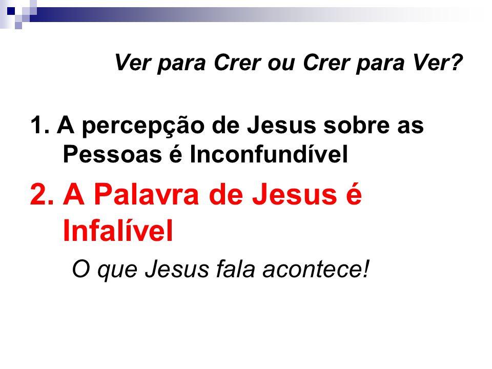 Ver para Crer ou Crer para Ver.1. A percepção de Jesus sobre as Pessoas é Inconfundível 2.