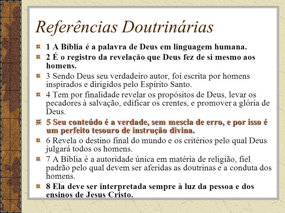Referências Doutrinárias 1 A Bíblia é a palavra de Deus em linguagem humana.