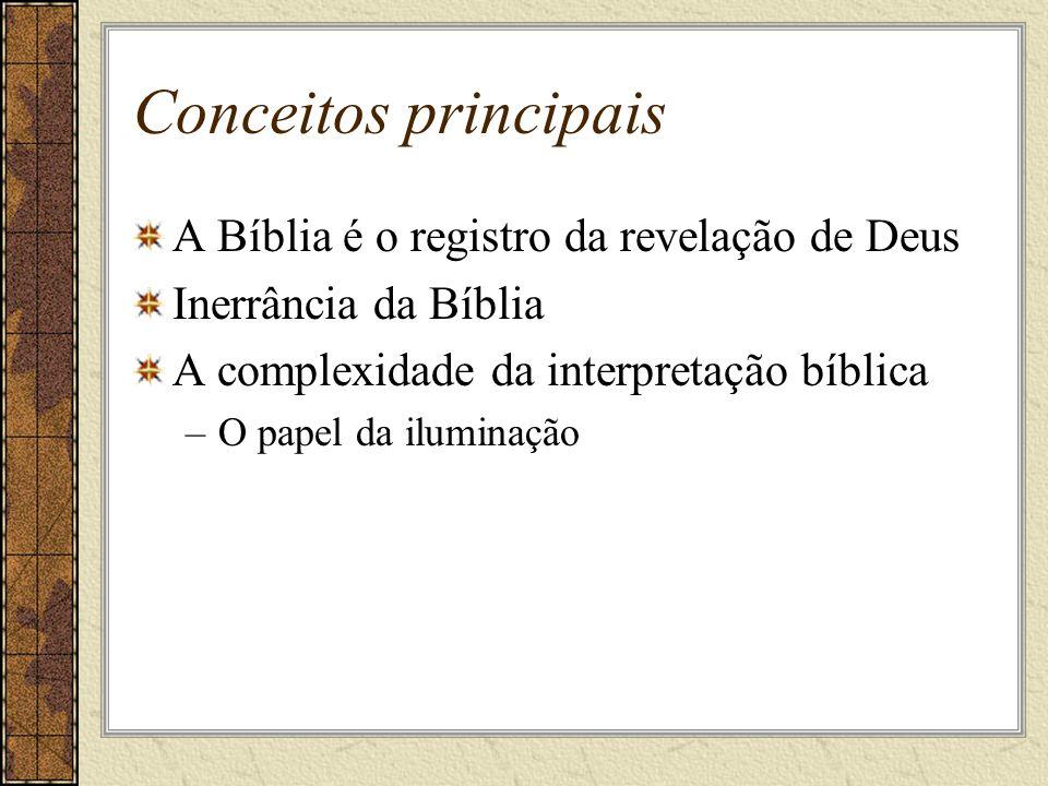 Conceitos principais A Bíblia é o registro da revelação de Deus Inerrância da Bíblia A complexidade da interpretação bíblica –O papel da iluminação