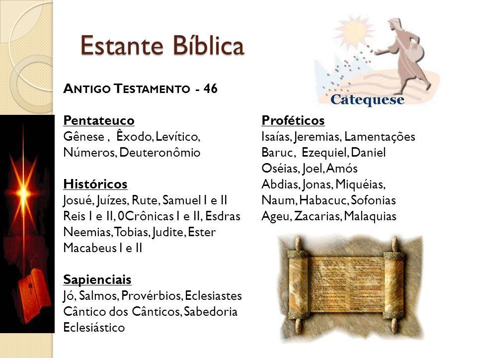 Estante Bíblica A NTIGO T ESTAMENTO - 46 Pentateuco Gênese, Êxodo, Levítico, Números, Deuteronômio Históricos Josué, Juízes, Rute, Samuel I e II Reis