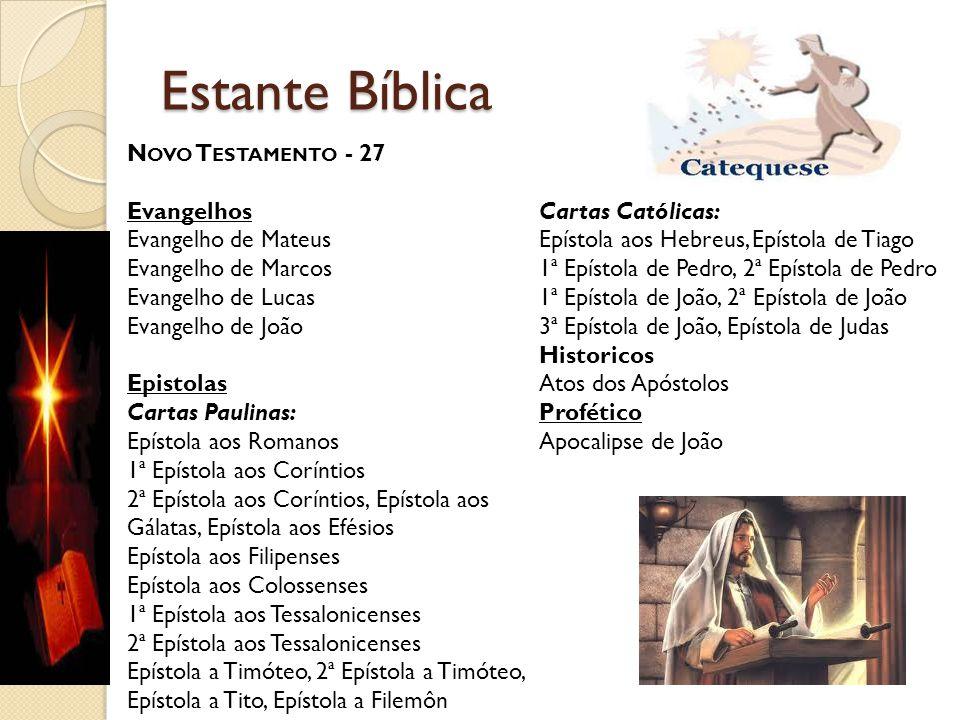 Estante Bíblica N OVO T ESTAMENTO - 27 Evangelhos Evangelho de Mateus Evangelho de Marcos Evangelho de Lucas Evangelho de João Epistolas Cartas Paulin