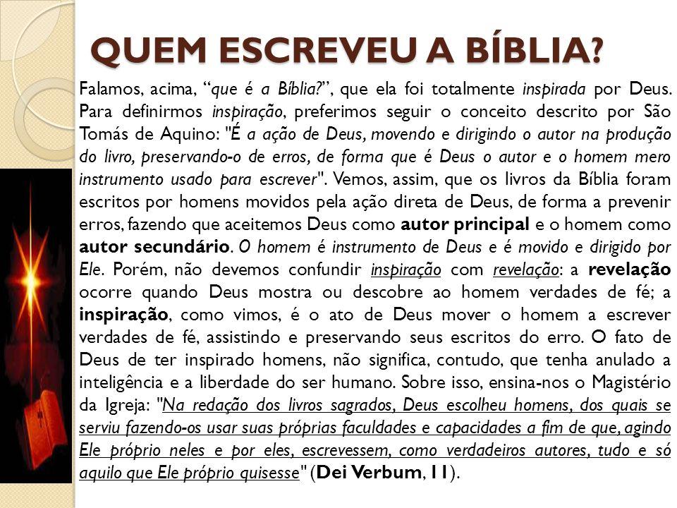 """QUEM ESCREVEU A BÍBLIA? Falamos, acima, """"que é a Bíblia?"""", que ela foi totalmente inspirada por Deus. Para definirmos inspiração, preferimos seguir o"""