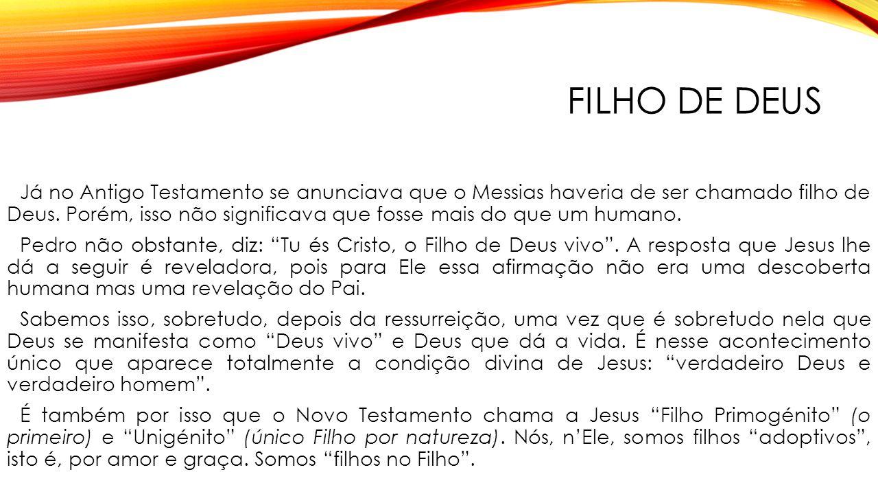FILHO DE DEUS Já no Antigo Testamento se anunciava que o Messias haveria de ser chamado filho de Deus.