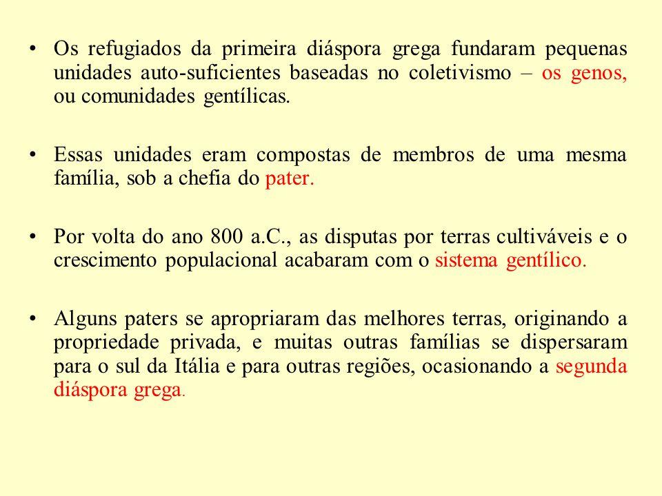 Os refugiados da primeira diáspora grega fundaram pequenas unidades auto-suficientes baseadas no coletivismo – os genos, ou comunidades gentílicas.