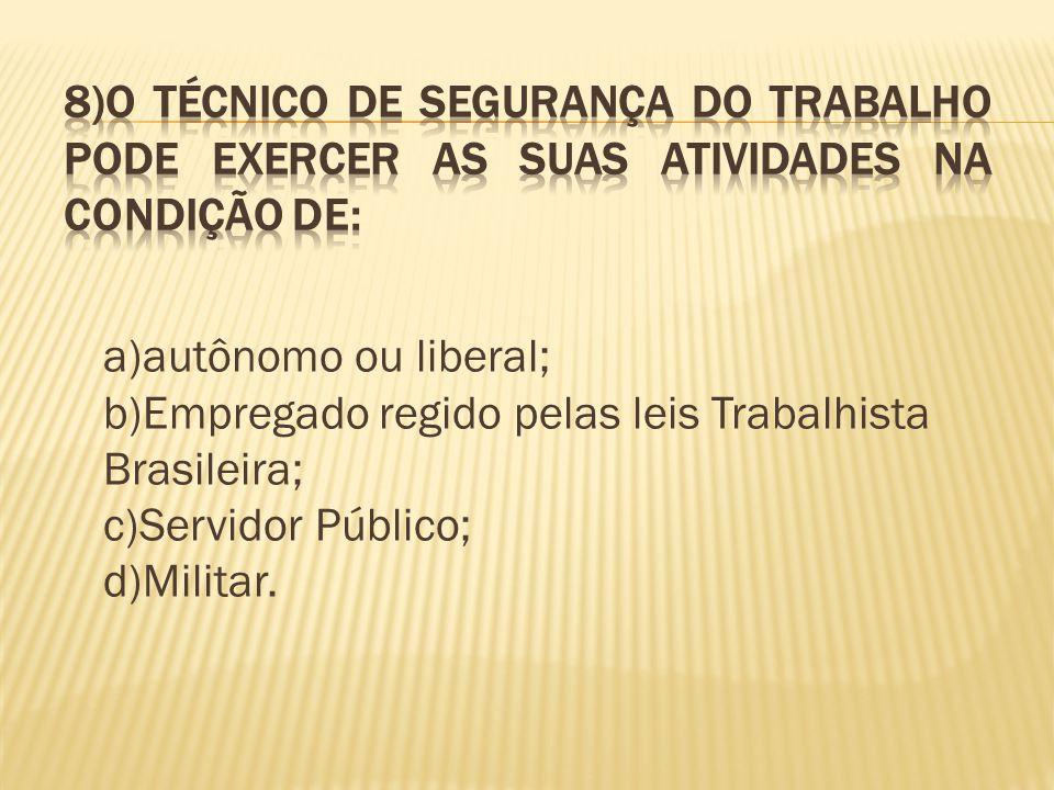 a)autônomo ou liberal; b)Empregado regido pelas leis Trabalhista Brasileira; c)Servidor Público; d)Militar.