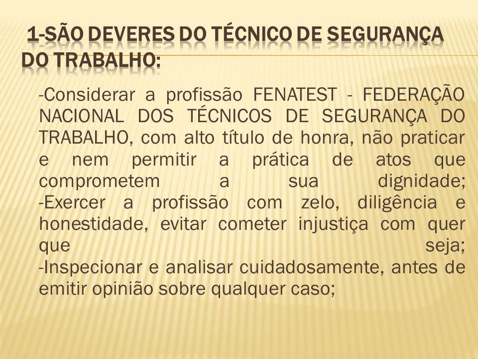 -Considerar a profissão FENATEST - FEDERAÇÃO NACIONAL DOS TÉCNICOS DE SEGURANÇA DO TRABALHO, com alto título de honra, não praticar e nem permitir a p