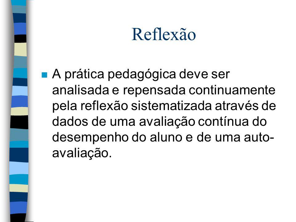 Reflexão n A prática pedagógica deve ser analisada e repensada continuamente pela reflexão sistematizada através de dados de uma avaliação contínua do desempenho do aluno e de uma auto- avaliação.