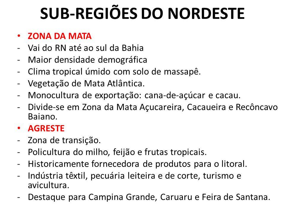 SUB-REGIÕES DO NORDESTE ZONA DA MATA -Vai do RN até ao sul da Bahia -Maior densidade demográfica -Clima tropical úmido com solo de massapê.