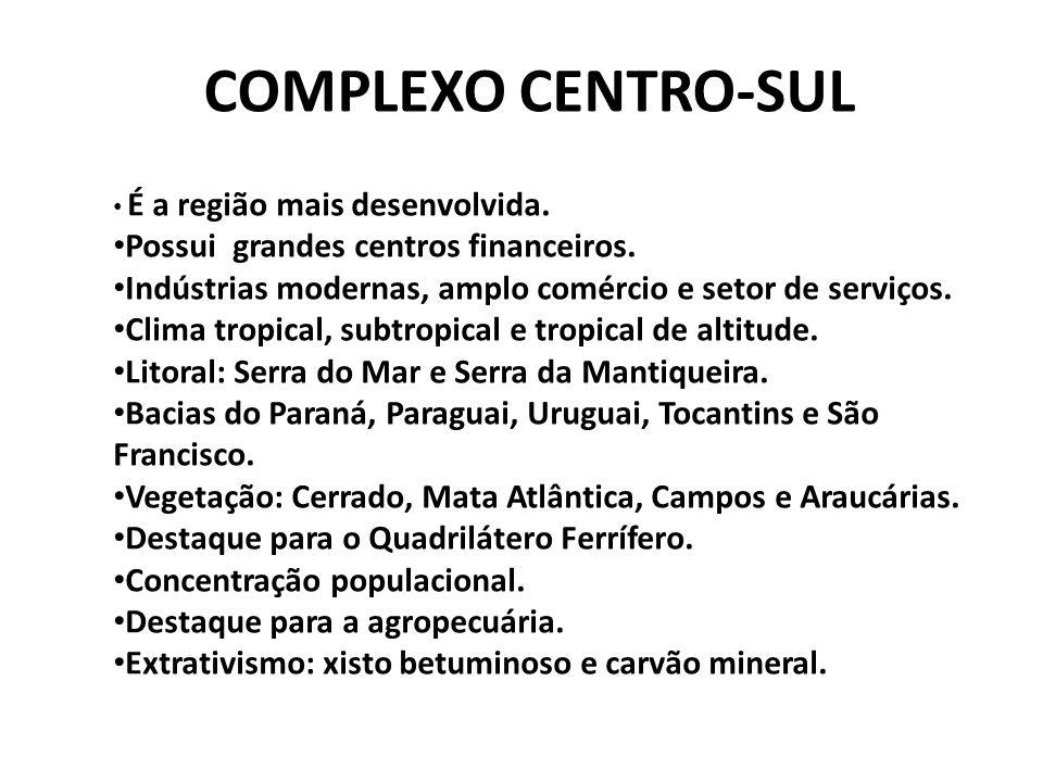 COMPLEXO CENTRO-SUL É a região mais desenvolvida.Possui grandes centros financeiros.