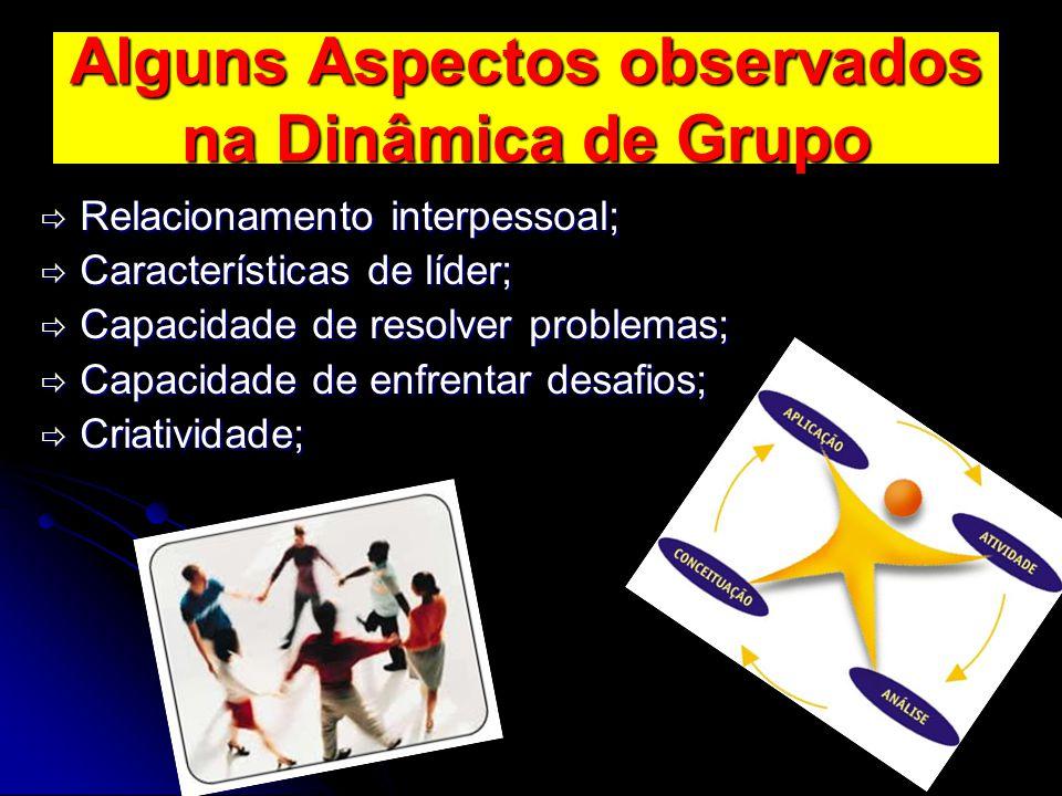 Alguns Aspectos observados na Dinâmica de Grupo  Relacionamento interpessoal;  Características de líder;  Capacidade de resolver problemas;  Capac