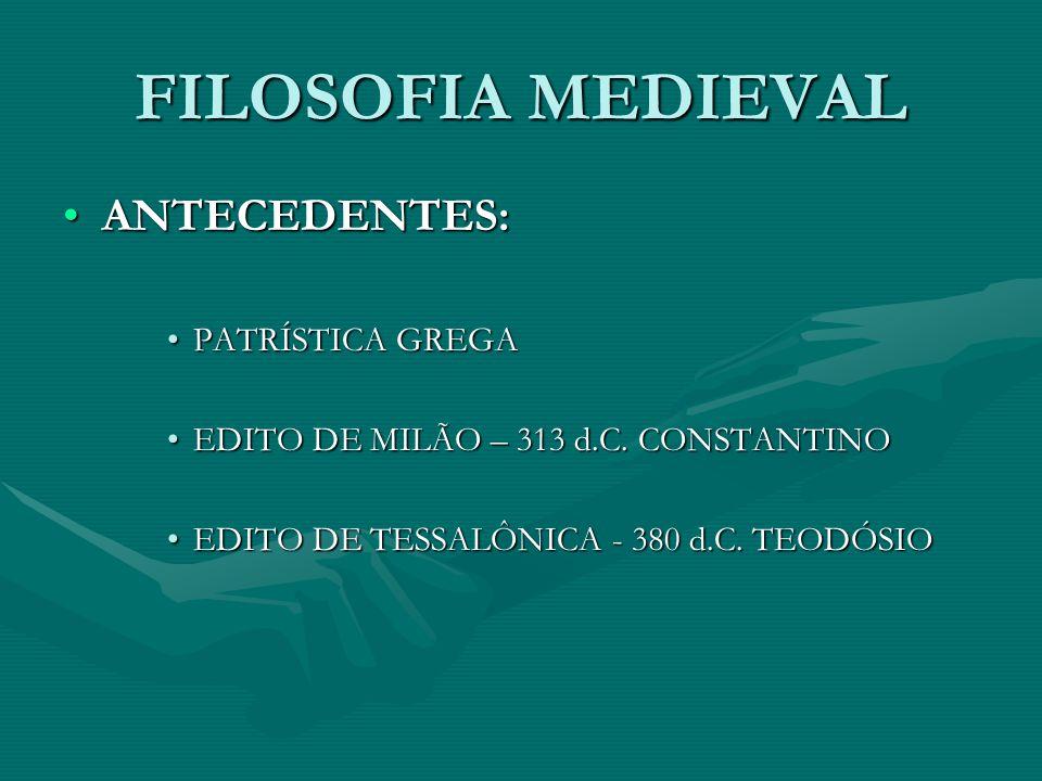 FILOSOFIA MEDIEVAL ANTECEDENTES:ANTECEDENTES: PATRÍSTICA GREGAPATRÍSTICA GREGA EDITO DE MILÃO – 313 d.C.