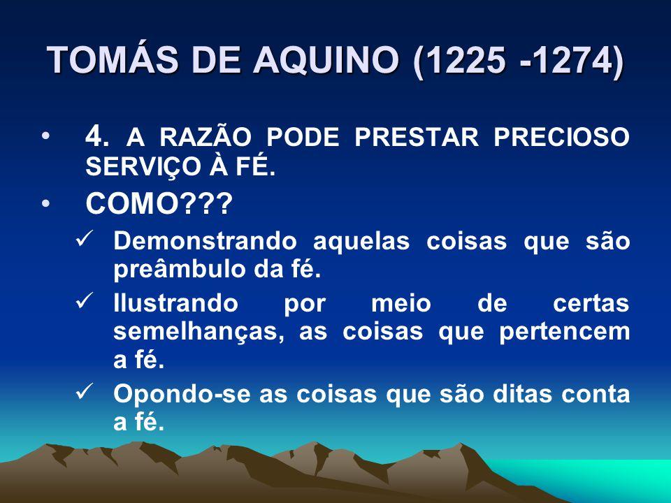 TOMÁS DE AQUINO (1225 -1274) 4.A RAZÃO PODE PRESTAR PRECIOSO SERVIÇO À FÉ.