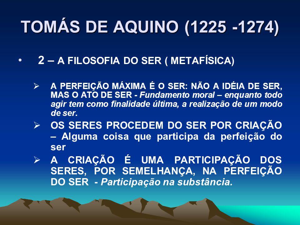 TOMÁS DE AQUINO (1225 -1274) 2 – A FILOSOFIA DO SER ( METAFÍSICA)  A PERFEIÇÃO MÁXIMA É O SER: NÃO A IDÉIA DE SER, MAS O ATO DE SER - Fundamento moral – enquanto todo agir tem como finalidade última, a realização de um modo de ser.
