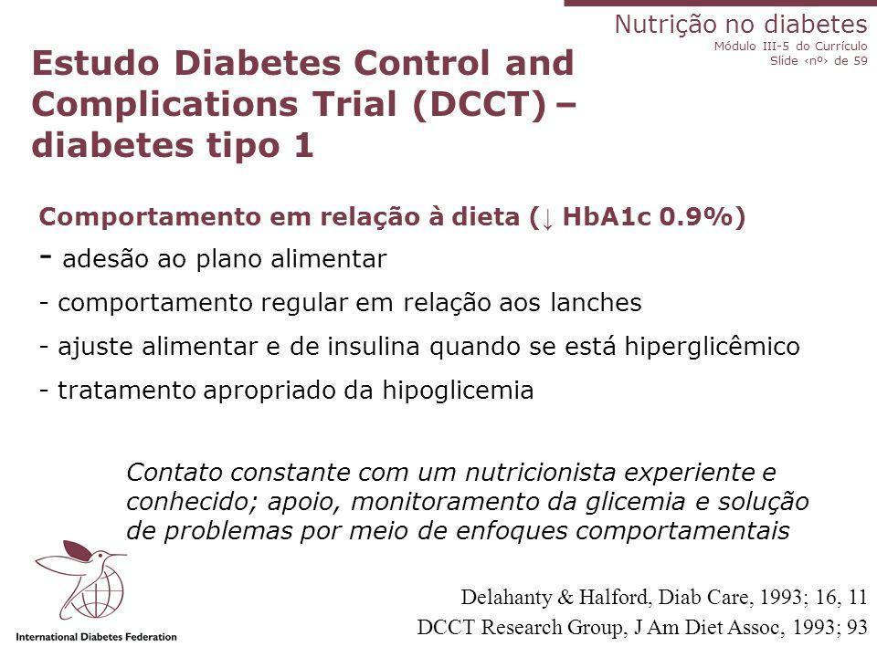 Nutrição no diabetes Módulo III-5 do Currículo Slide ‹nº› de 59 Slides atualizados até 2008 Índice glicêmico de alimentos Alimentos com índice glicêmi