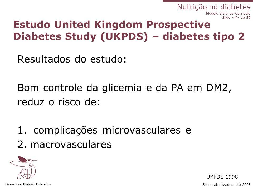 Nutrição no diabetes Módulo III-5 do Currículo Slide ‹nº› de 59 Comportamento em relação à dieta ( ↓ HbA1c 0.9%) - adesão ao plano alimentar - comport