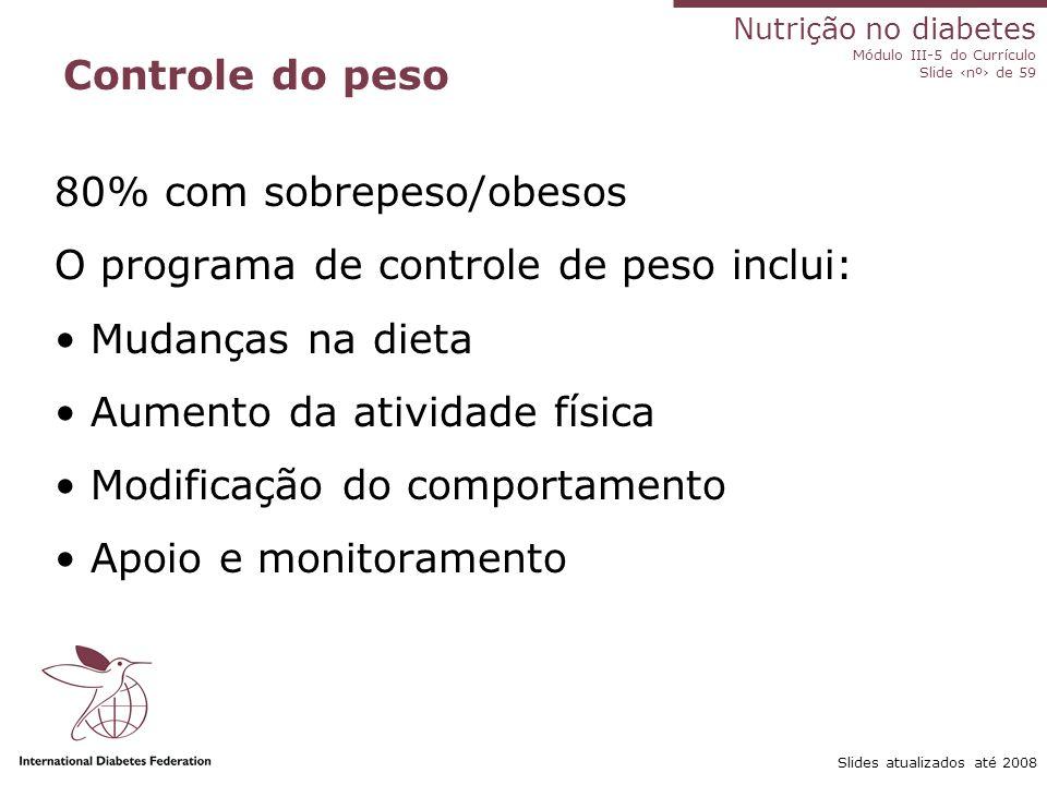 Nutrição no diabetes Módulo III-5 do Currículo Slide ‹nº› de 59 Slides atualizados até 2008 Obtenção de controle glicêmico ideal no diabetes de tipo 2