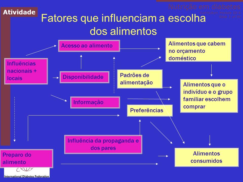 Nutrição no diabetes Módulo III-5 do Currículo Slide ‹nº› de 59 Comportamento em relação à dieta ( ↓ HbA1c 0.9%) - adesão ao plano alimentar - comportamento regular em relação aos lanches - ajuste alimentar e de insulina quando se está hiperglicêmico - tratamento apropriado da hipoglicemia Estudo Diabetes Control and Complications Trial (DCCT) – diabetes tipo 1 Delahanty & Halford, Diab Care, 1993; 16, 11 DCCT Research Group, J Am Diet Assoc, 1993; 93 Contato constante com um nutricionista experiente e conhecido; apoio, monitoramento da glicemia e solução de problemas por meio de enfoques comportamentais