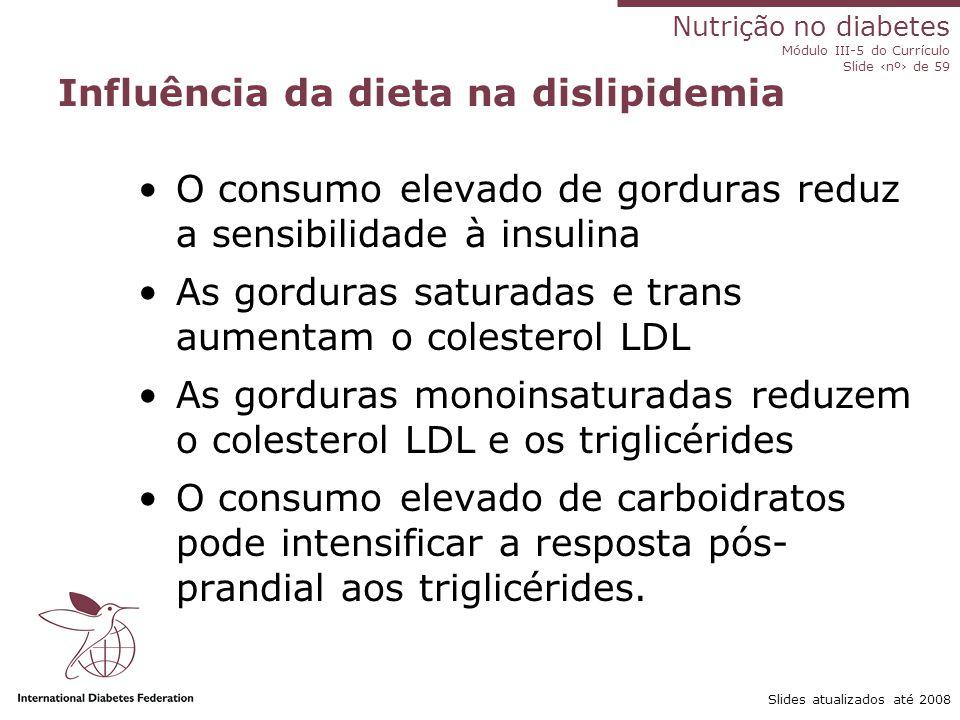 Nutrição no diabetes Módulo III-5 do Currículo Slide ‹nº› de 59 Slides atualizados até 2008 Dislipidemia no diabetes de tipo 1 e no diabetes de tipo 2
