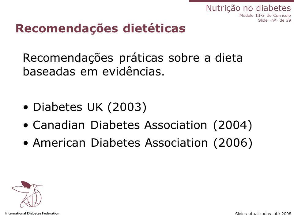 Nutrição em diabetes Curriculum Module III-5 Slide 35 of 59 Atividade Slides atualizados até 2008 Identifique na dieta local os alimentos que contribuem para o consumo total de gorduras saturadas e trans.