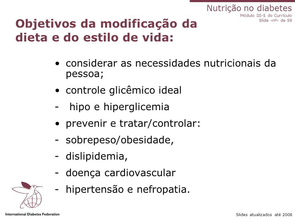 Nutrição no diabetes Módulo III-5 do Currículo Slide ‹nº› de 59 Slides atualizados até 2008 Recomendações dietéticas Recomendações práticas sobre a dieta baseadas em evidências.