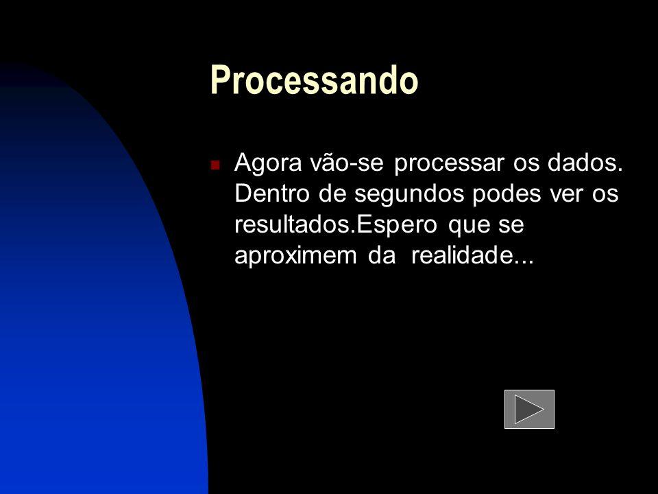 Processando Agora vão-se processar os dados. Dentro de segundos podes ver os resultados.Espero que se aproximem da realidade...