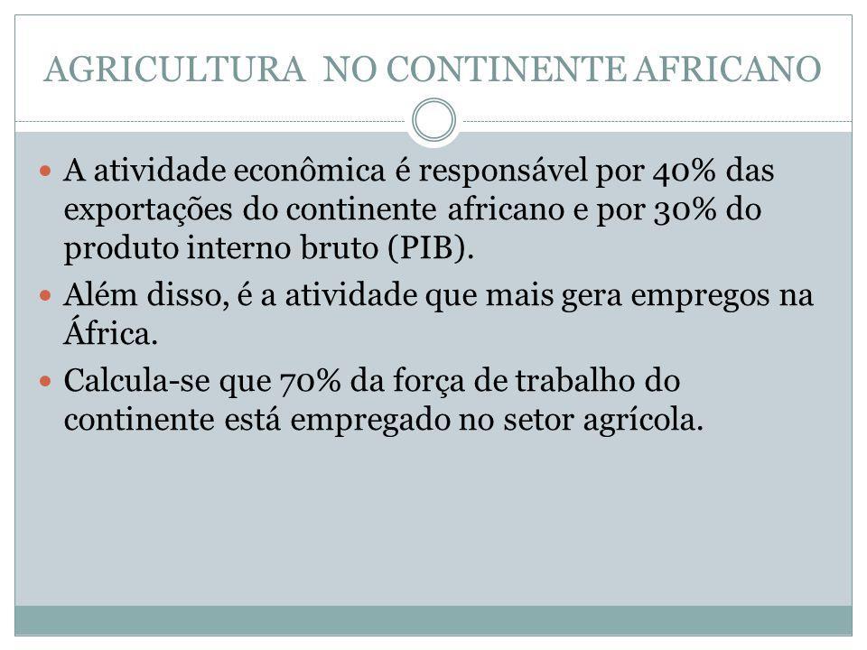 AGRICULTURA NO CONTINENTE AFRICANO A atividade econômica é responsável por 40% das exportações do continente africano e por 30% do produto interno bruto (PIB).