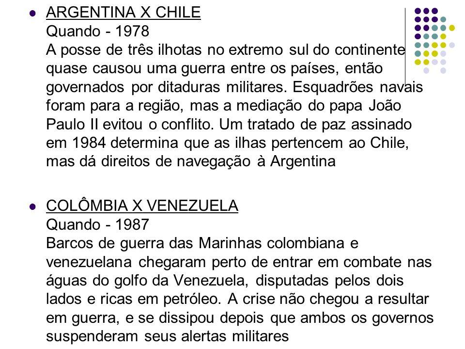ARGENTINA X CHILE Quando - 1978 A posse de três ilhotas no extremo sul do continente quase causou uma guerra entre os países, então governados por ditaduras militares.