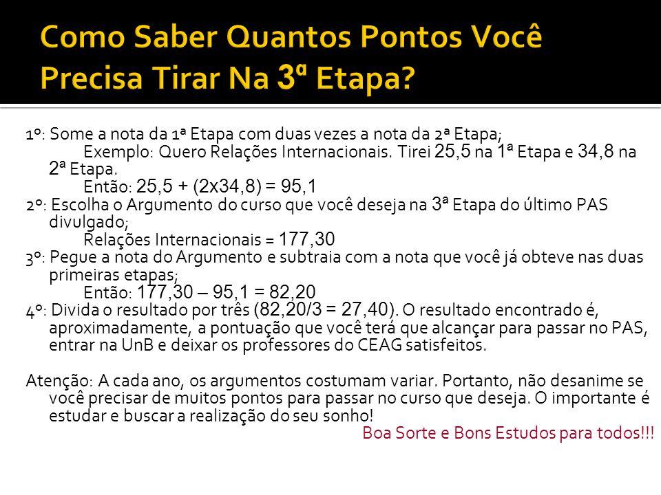  Fique sempre atento às informações divulgadas pelo Cespe/UnB no site: cespe.unb.br  Os editais de cada Etapa costumam sair nos meses de agosto de cada ano.
