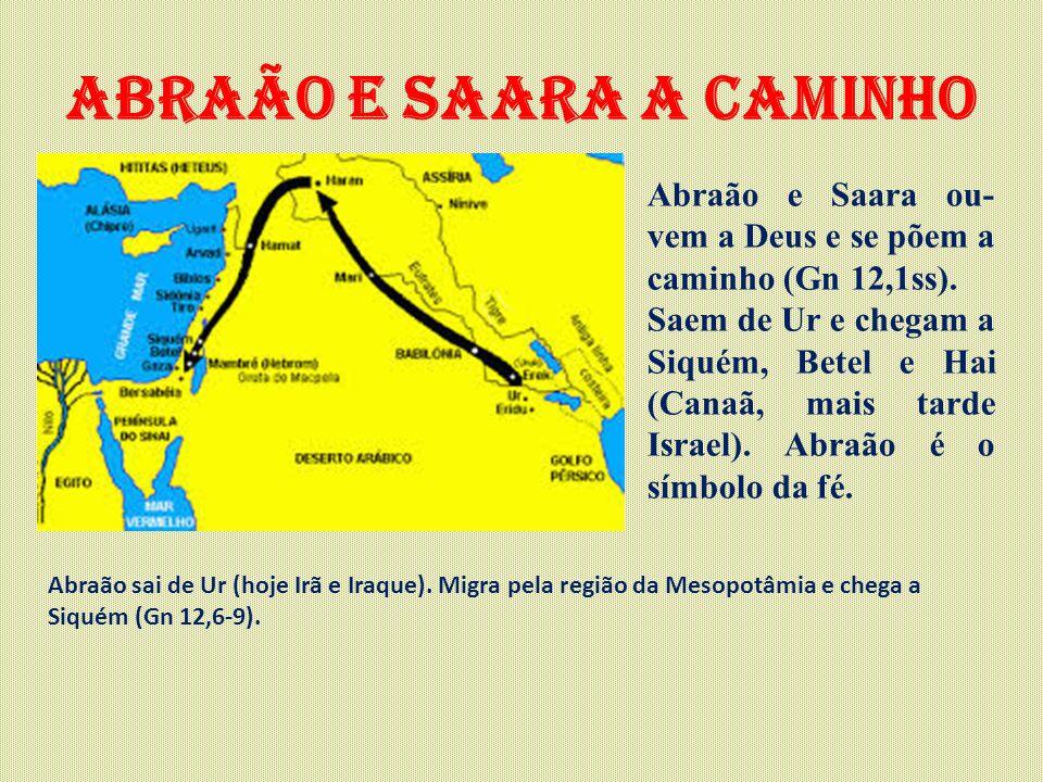 Abraão e saara a caminho Abraão e Saara ou- vem a Deus e se põem a caminho (Gn 12,1ss). Saem de Ur e chegam a Siquém, Betel e Hai (Canaã, mais tarde I