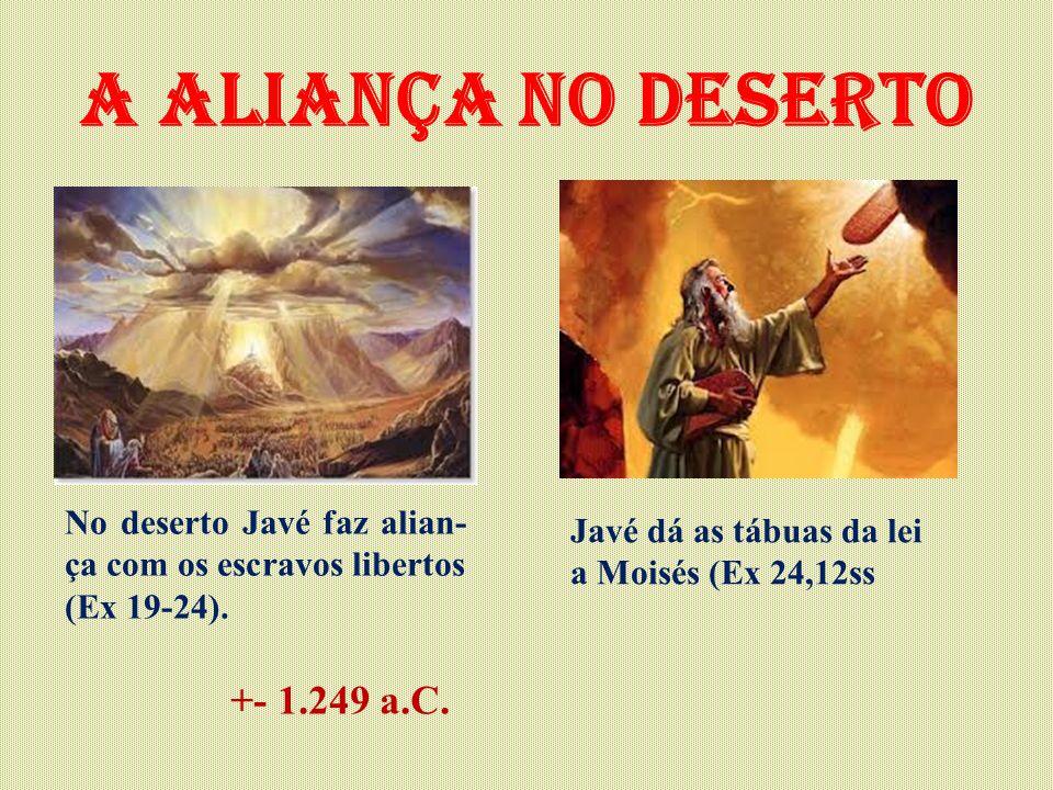 A aliança no deserto No deserto Javé faz alian- ça com os escravos libertos (Ex 19-24). Javé dá as tábuas da lei a Moisés (Ex 24,12ss +- 1.249 a.C.