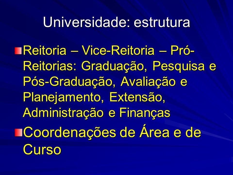 Universidade: estrutura Reitoria – Vice-Reitoria – Pró- Reitorias: Graduação, Pesquisa e Pós-Graduação, Avaliação e Planejamento, Extensão, Administração e Finanças Coordenações de Área e de Curso