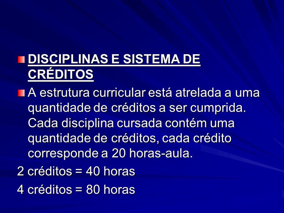 DISCIPLINAS E SISTEMA DE CRÉDITOS A estrutura curricular está atrelada a uma quantidade de créditos a ser cumprida.